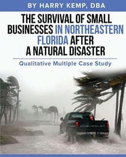 book cover - The Survival of Small Businesses in Northeastern Florida After a Natural Disaster