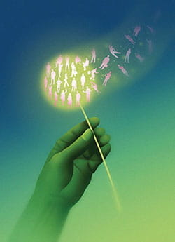 Conceptual illustratoin of a hand holding a dandelion that has gone to seed. Silhouetted figures are within the seed head and being floated away on the wind.