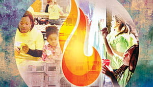 Illustration of a flame and children and adults learning.