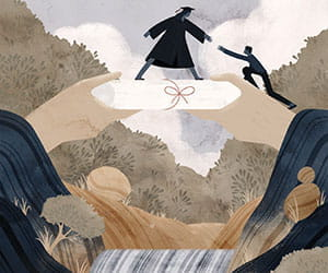 illustration - silhouette of a person in cap and gown giving a hand up to someone