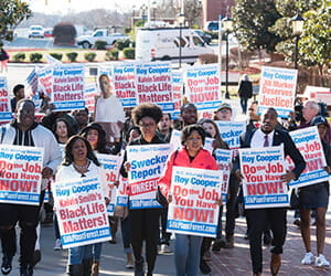 Winston-Salem State University students protest for the release of Kalvin Michael Smith