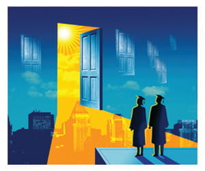 Illustration - two people in cap and gown face a door opening into a bright future.