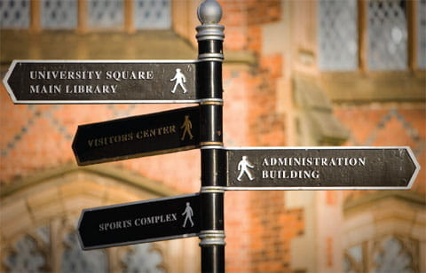 Directional sign post pointing to: 'University Square Main Library, Administration Building, and Sports Complex.'