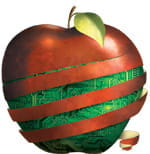 Illustration of an apple partially peeled. A computer circuit board is revealed behind the peels.