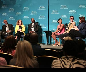 Pictured left to right: Dr. Walter McCollum, Dr. Barbara Heller, Dr. Jonas Nguh, Crystal Francis, Jason Vanfosson, and Kylie Yearwood