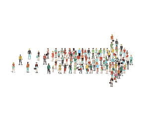Illustration concept: an arrow made up of figures of people.