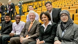 Raquel Battle, second from Right & Bill Clinton, second from left