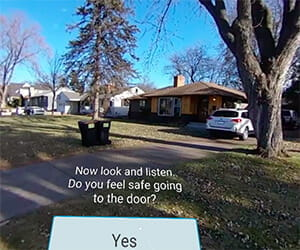 A scene from Walden University's social work virtual reality experience. It shows the exterior of a house and asks the viewer to look and listen and asks if they feel safe going to the door.