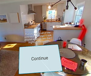 A scene from Walden University's social work virtual reality experience. It shows the interior of a house and asks the view to look for potential red flags.